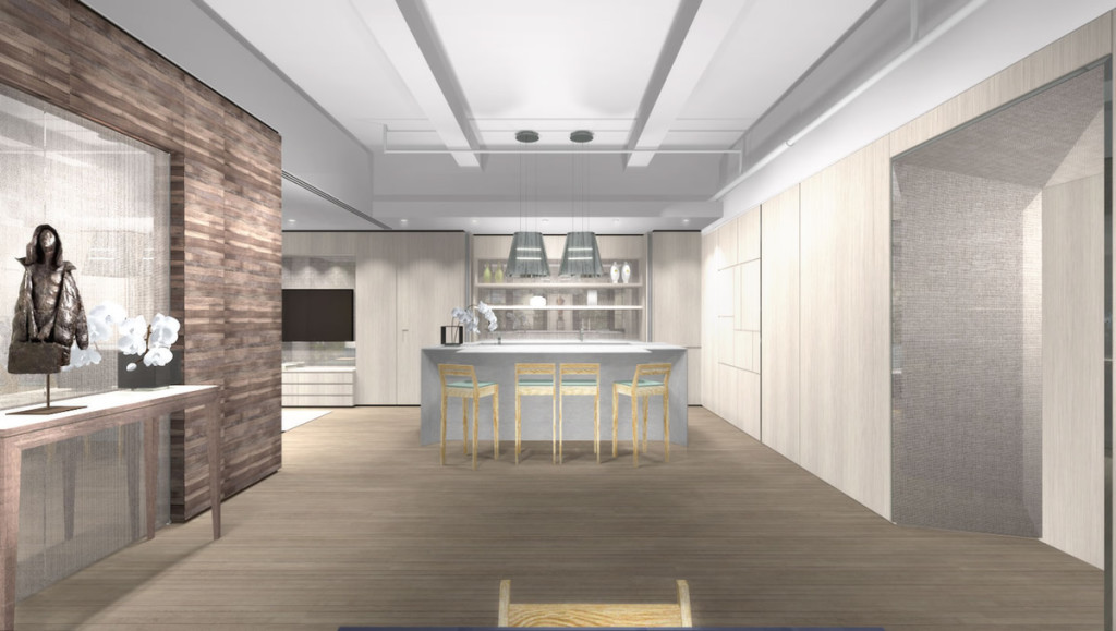 "3D Rendering of the media cabinet, kitchen cabinet and ""Mondrian"" wall paneling"