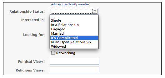 "Facebook ""it's complicated"""