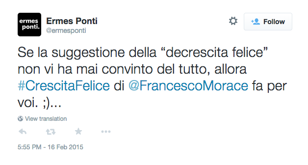 """Ermes Ponti su """"Crescita Felice"""" di Francesco Morace"""