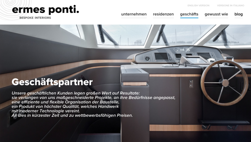 Ermes Ponti bespoke: German speaking website