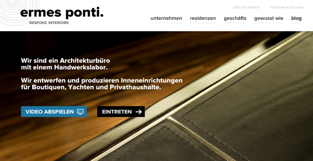 Ermes Ponti bespoke: company website in German