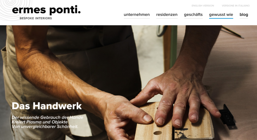 ermesponti bespoke interiors website in German