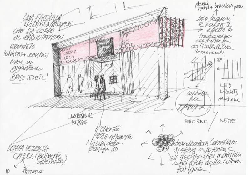 Paris Corneliani Store project sketch by ermesponti